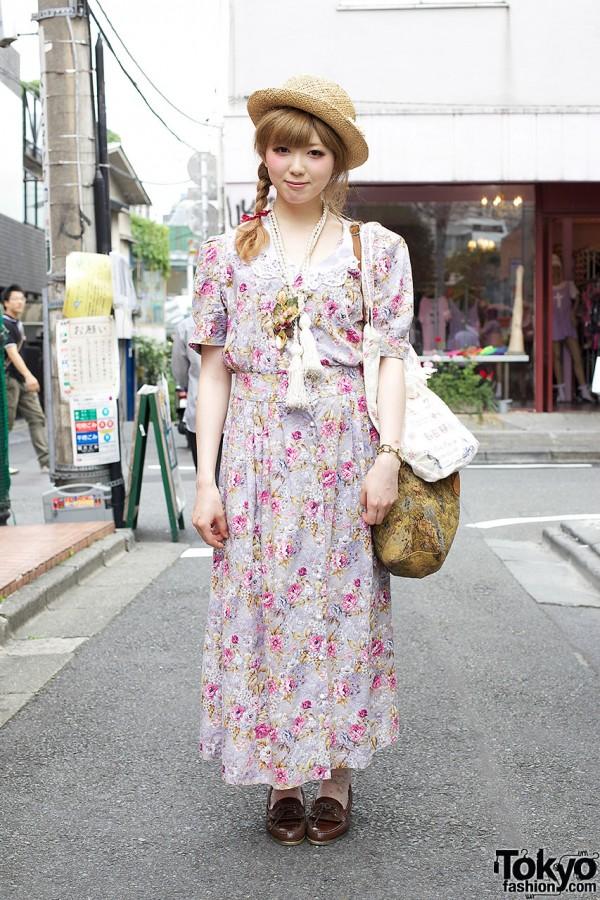 Romantic Grimoire Maxi Dress w/ Straw Hat & Tassel Necklace