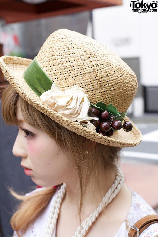 Straw hat w/ flower & cherries