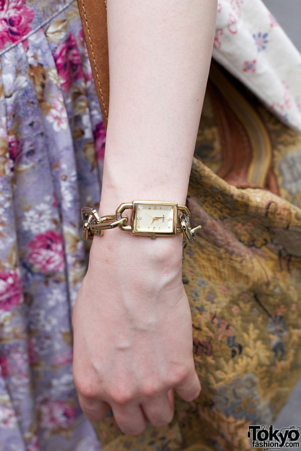 Vintage gold watch w/ chunky chain bracelet
