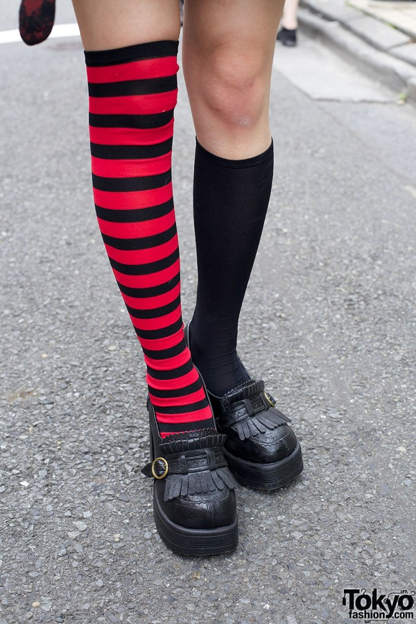 Mismatched socks & Harajuku pumps