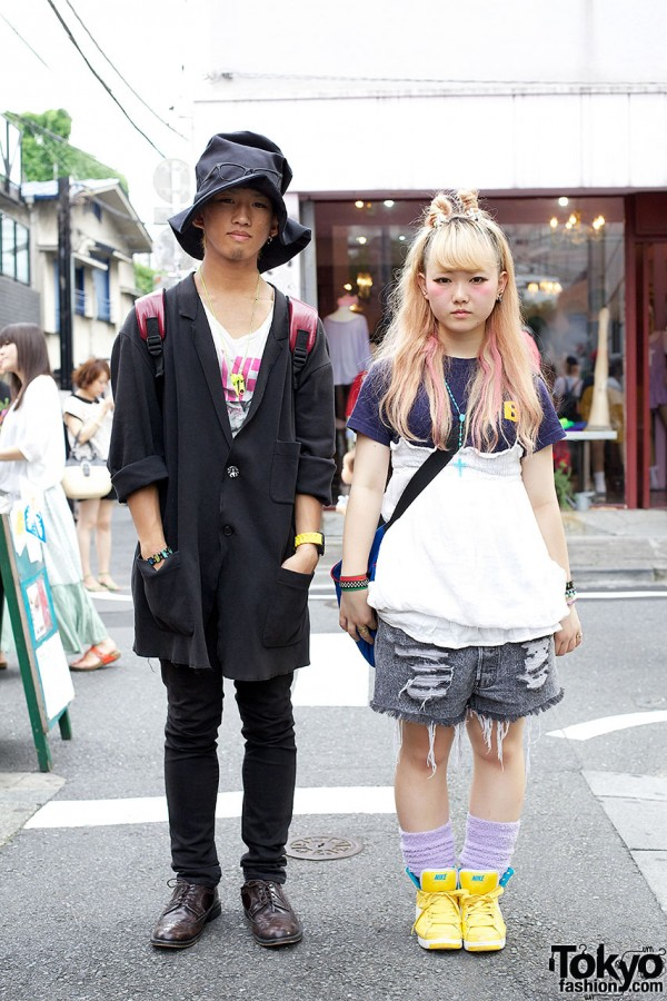 Pink Streaked Hair & Oversized Hat in Harajuku