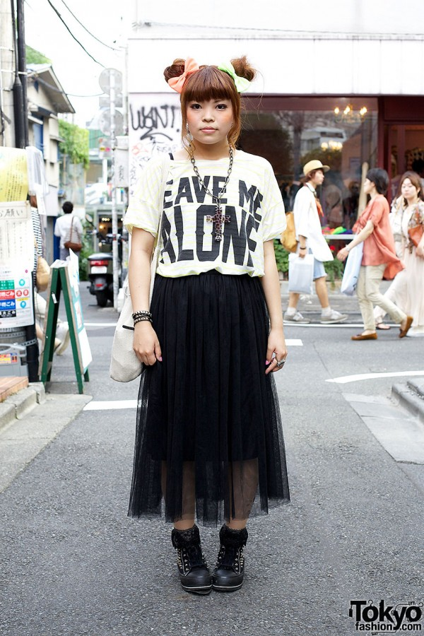 Graphic T-shirt & Maxi Skirt With Creepers in Harajuku