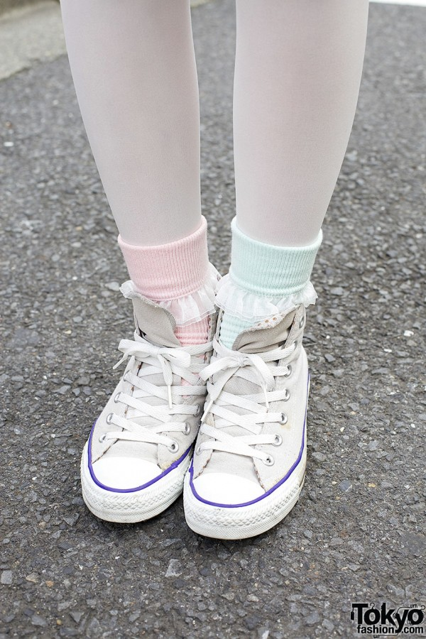 TuTuanna tights & socks w/ Panama Boy sneakers
