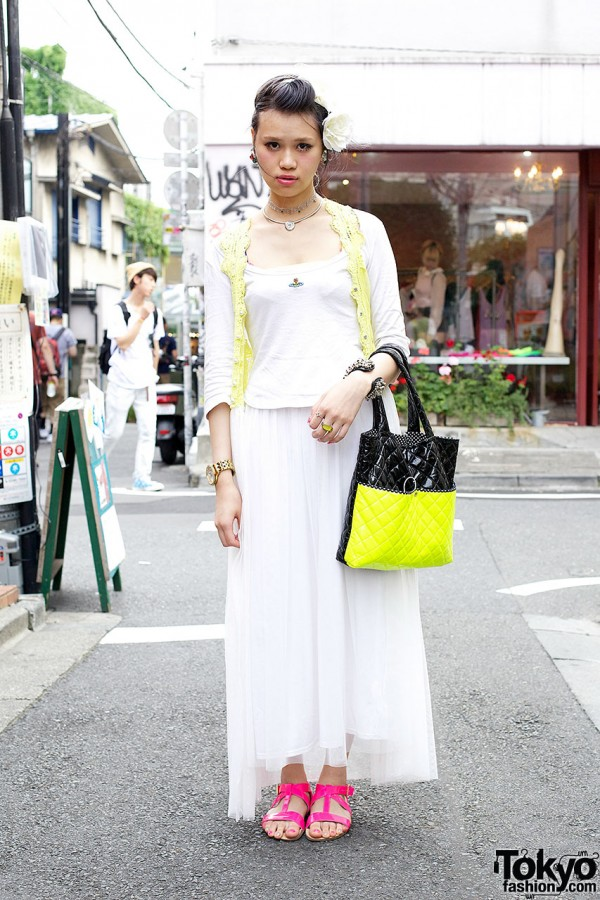 Fashion Student's Vivienne Westwood Tank Top, One Spo Lacy Cardigan & Forever 21 Sandals