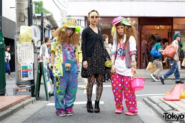 Colorful Decora Fashion vs. Dark Look w/ Piercings in Harajuku