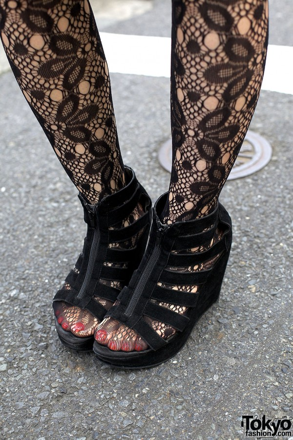 Lace Stockings & Black Suede Wedges