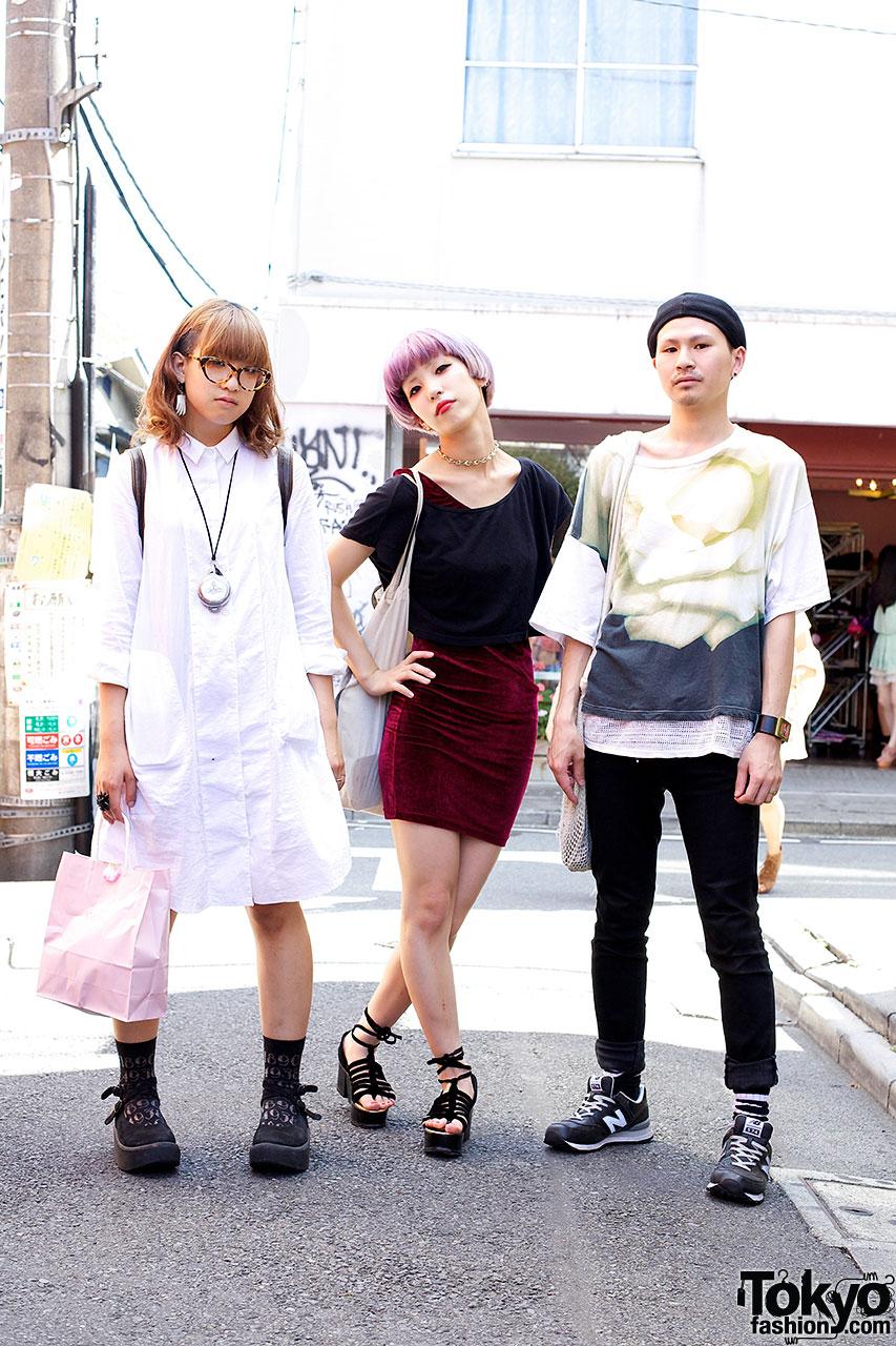 Fashionable Trio in Harajuku