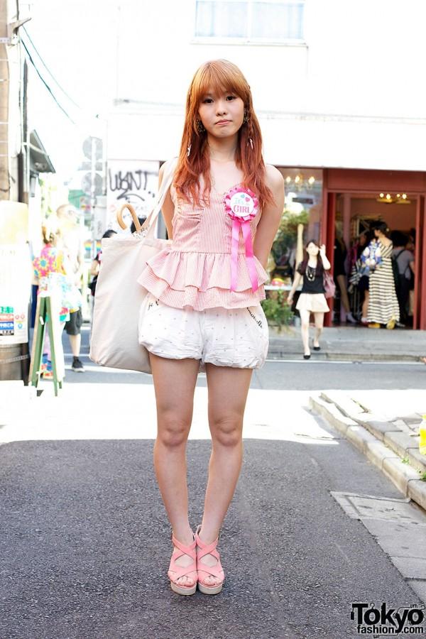 AMOYAMO Puffy Shorts, Pink Peplum Top & Award Ribbons