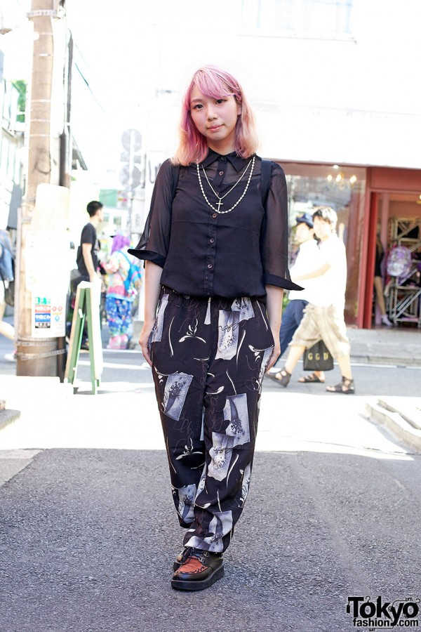 All Black Outfit With Printed Pants
