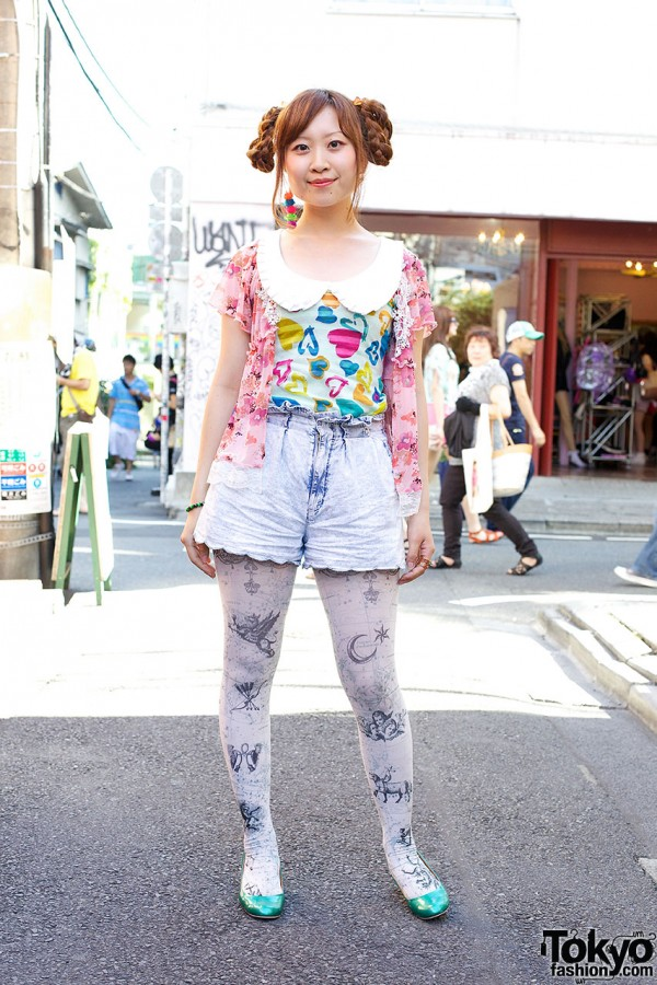 Braided Hairstyle, Acid Wash & Ice Cream Cone Earring in Harajuku