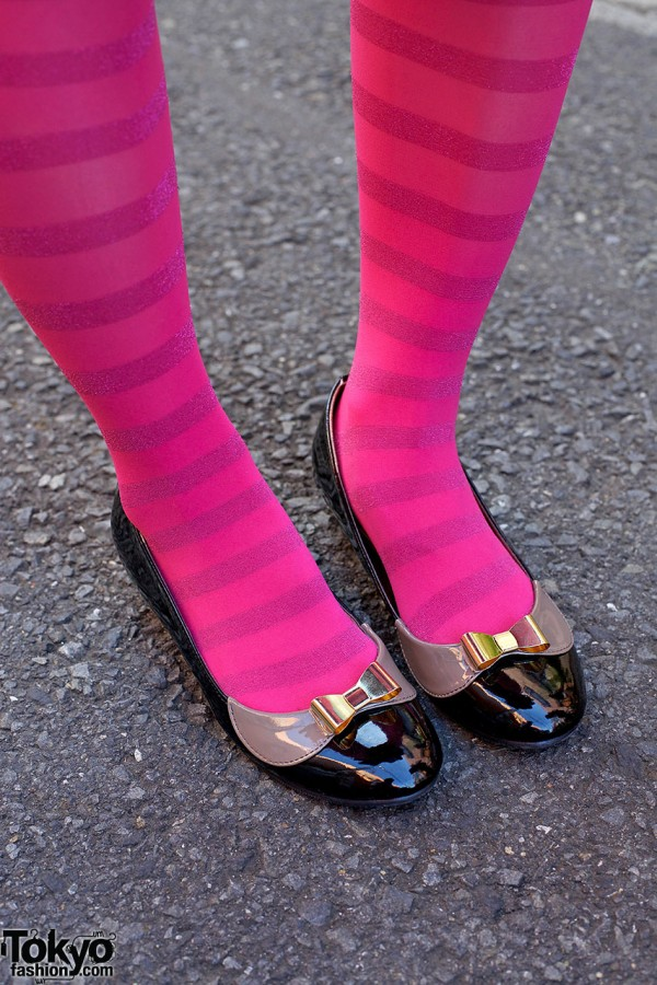 Pink Striped Stockings & Bow Flats
