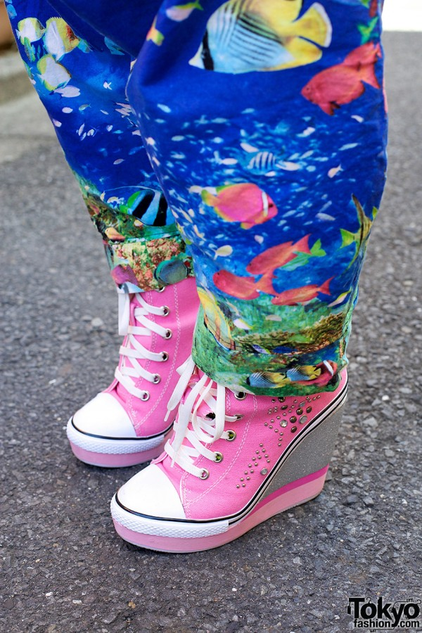 Undersea-print & High Heel Sneakers in Harajuku