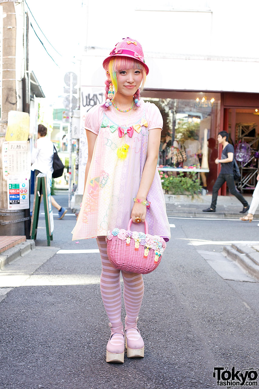 Kumamiki W Rainbow Hair Bows Cute Party Baby Shrimp In Harajuku