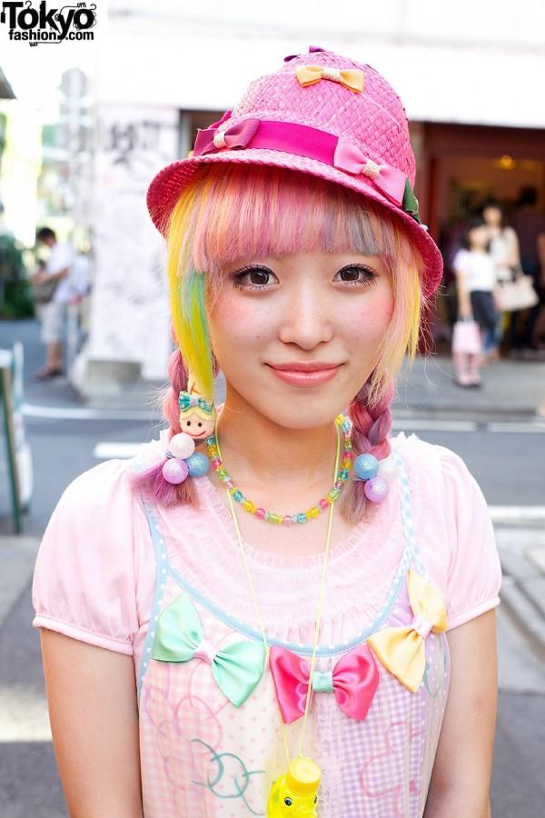Rainbow Hair w/ Braids in Harajuku