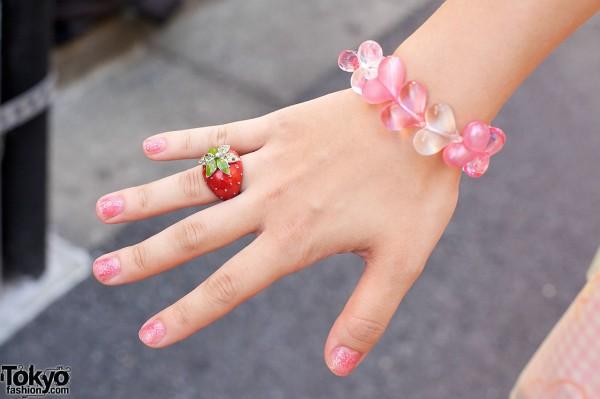 Strawberry Ring & Pink Bracelet