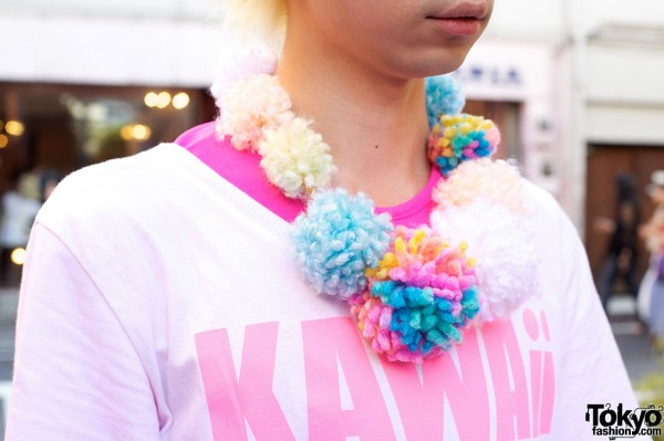 Colorful Harajuku Pom Pom Necklace