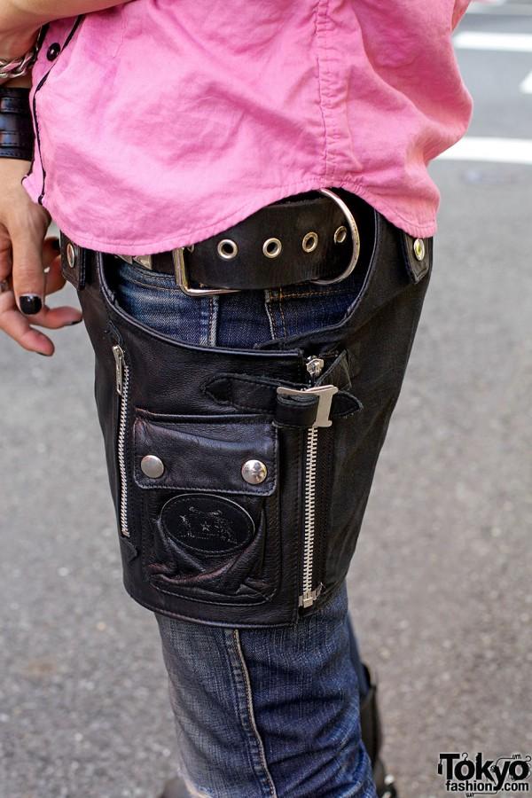 Leather wraparound pouch