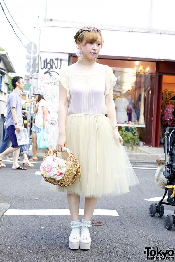 Etsuna Otsuka w/ Lace, Bows & Bilitis Tulle Skirt in Harajuku