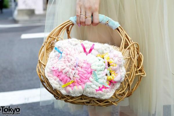 Yoshiko Wood & Knit Handbag in Harajuku