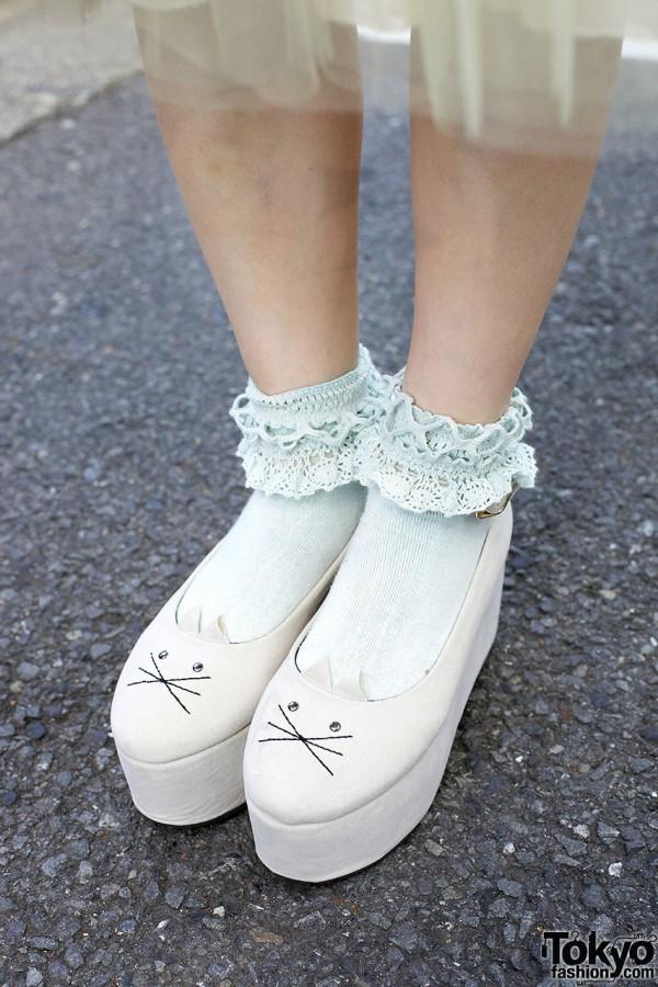 I AM I Cat Face Platform Shoes
