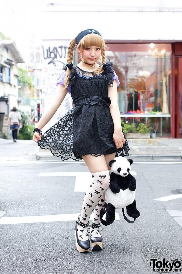 Cute Panda w/ Harajuku Girl in Braids, Lace Dress & Candy Stripper