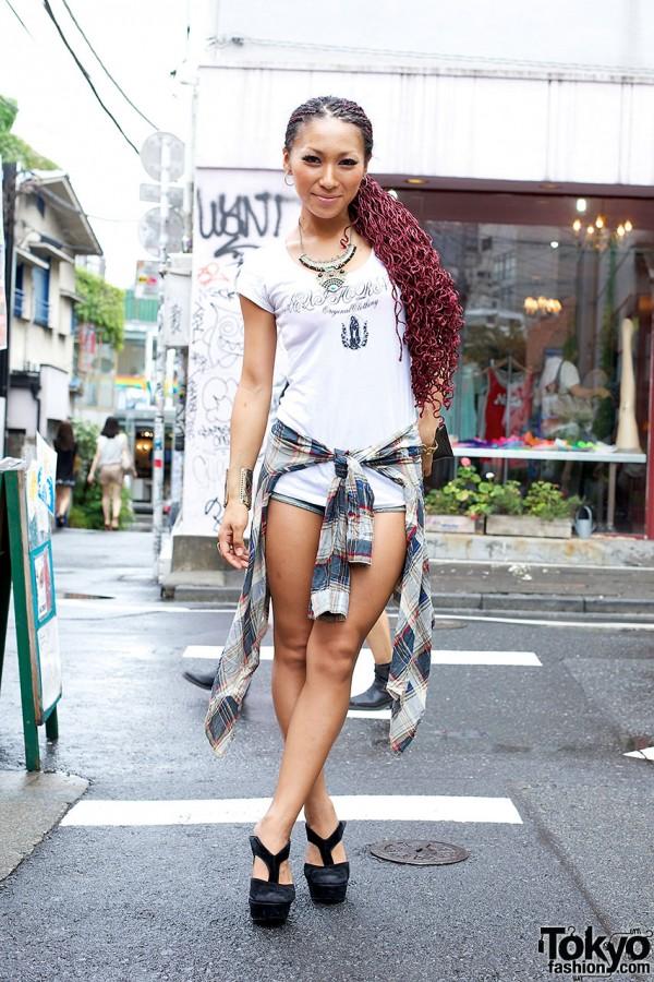 Burgundy Braided Hair, Short Shorts & Heels in Harajuku