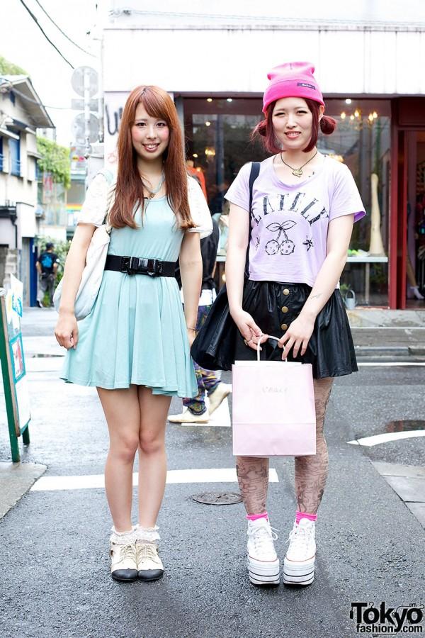Harajuku Girls w/ Faux Leather Skirt, Disney Tights & Heart Jewelry