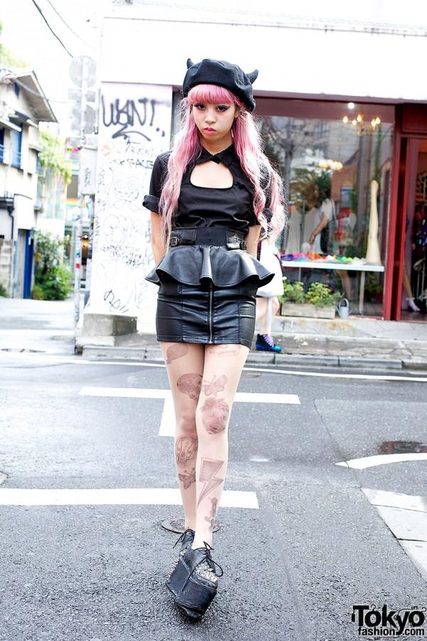 Juria Nakagawa w/ KTZ Horn Beret, Leather Skirt & Spikes
