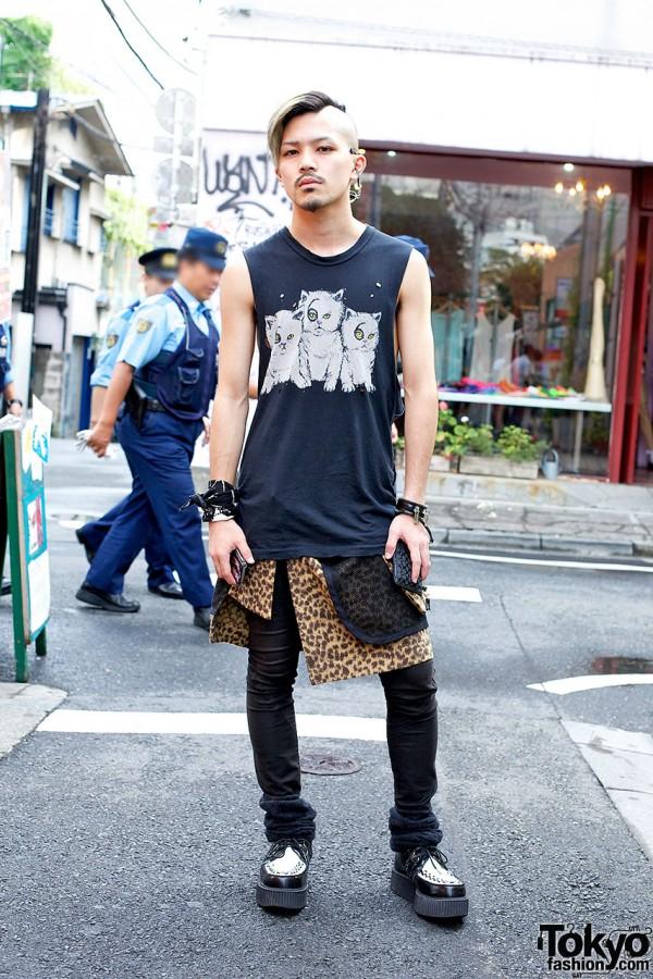 Harajuku Punk Rocker In Evil Kitties Top, Leopard Print & Creepers