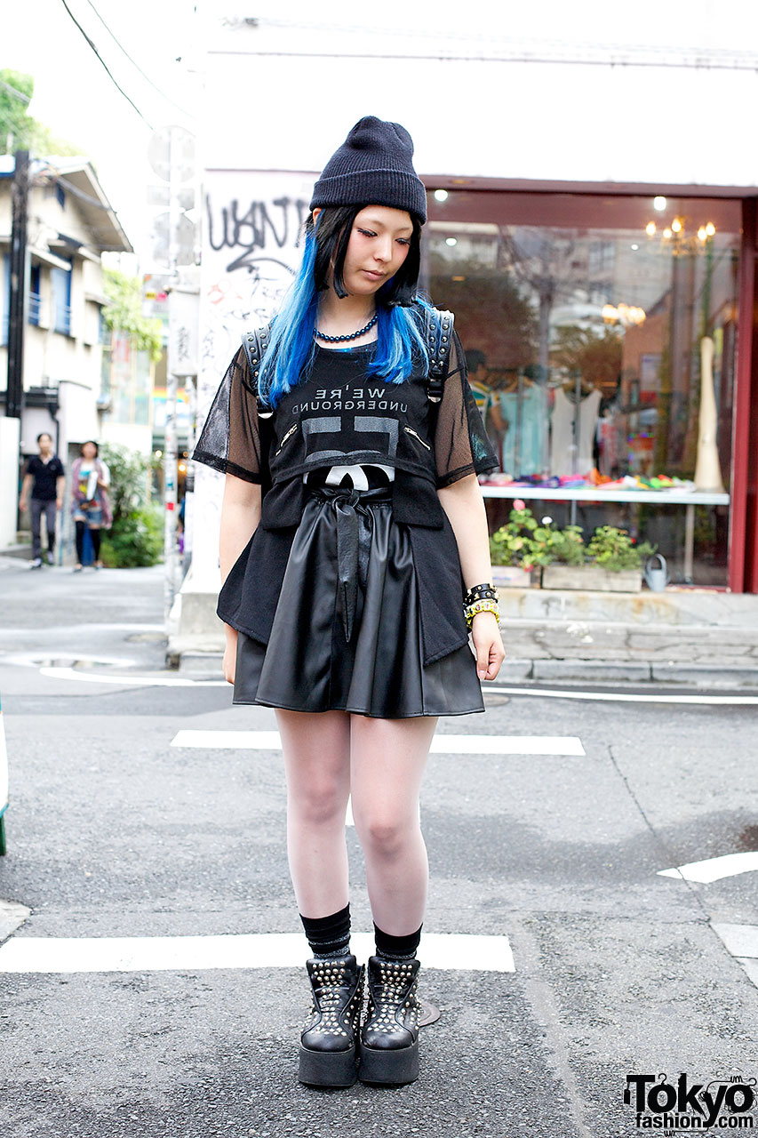 All Black Outfit W Blue Hair Studs Faux Leather Amp Monomania