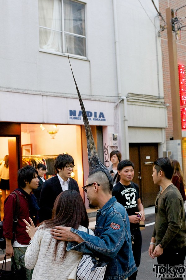 Worlds Tallest Mohawk on the street in Harajuku