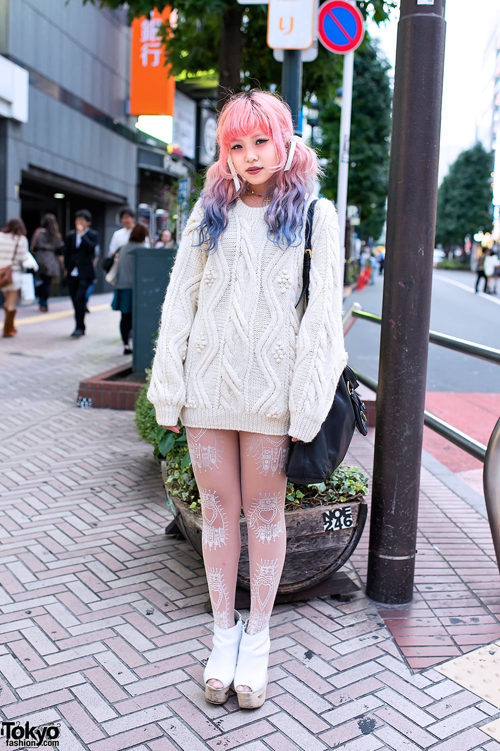 Dip Dye Hair Cable Knit Sweater Prada Jeffrey Campbell In Shibuya