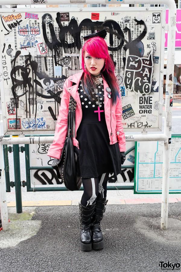 Korn Fan w/ Pink Hair, Pink Leather Jacket & Demonia Boots in Harajuku