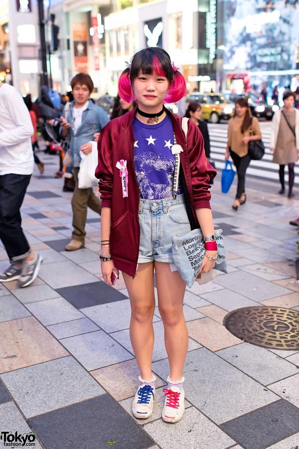 High Waist Acid Wash Shorts in Harajuku