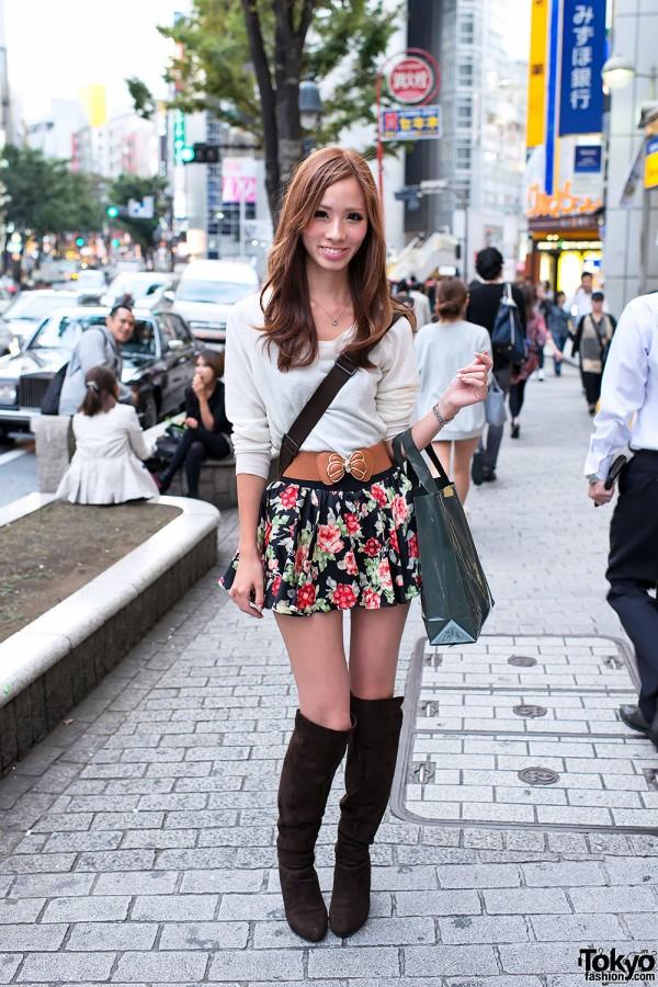 Shibuya Girl in Flower Skirt