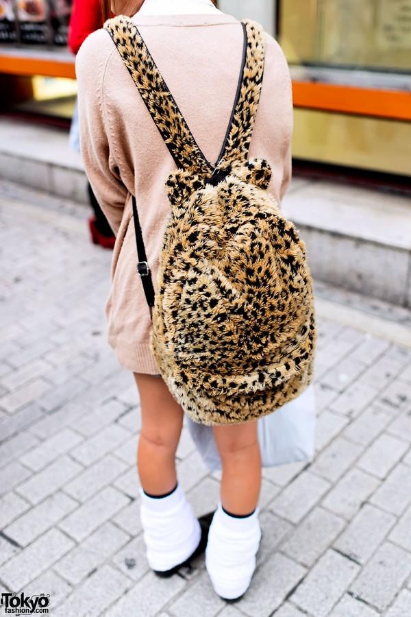 Leopard Print Backpack w/ Ears