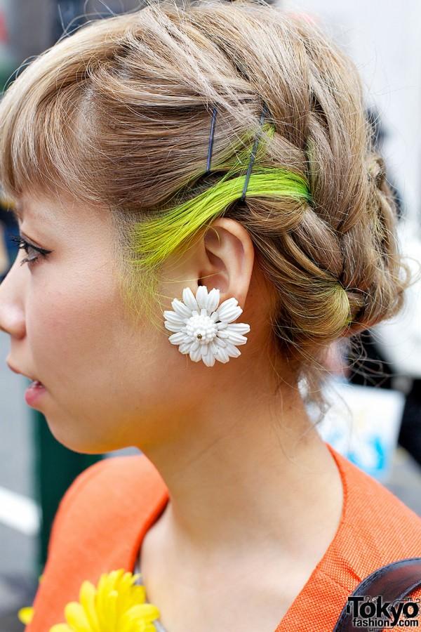 Flower Earring & Neon Hair
