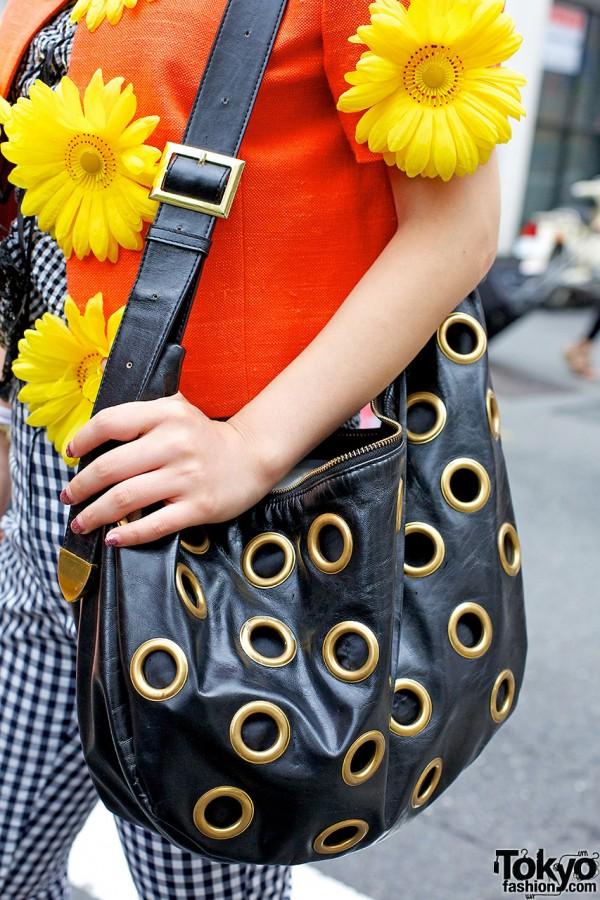 Leather Grommet Shoulder Bag