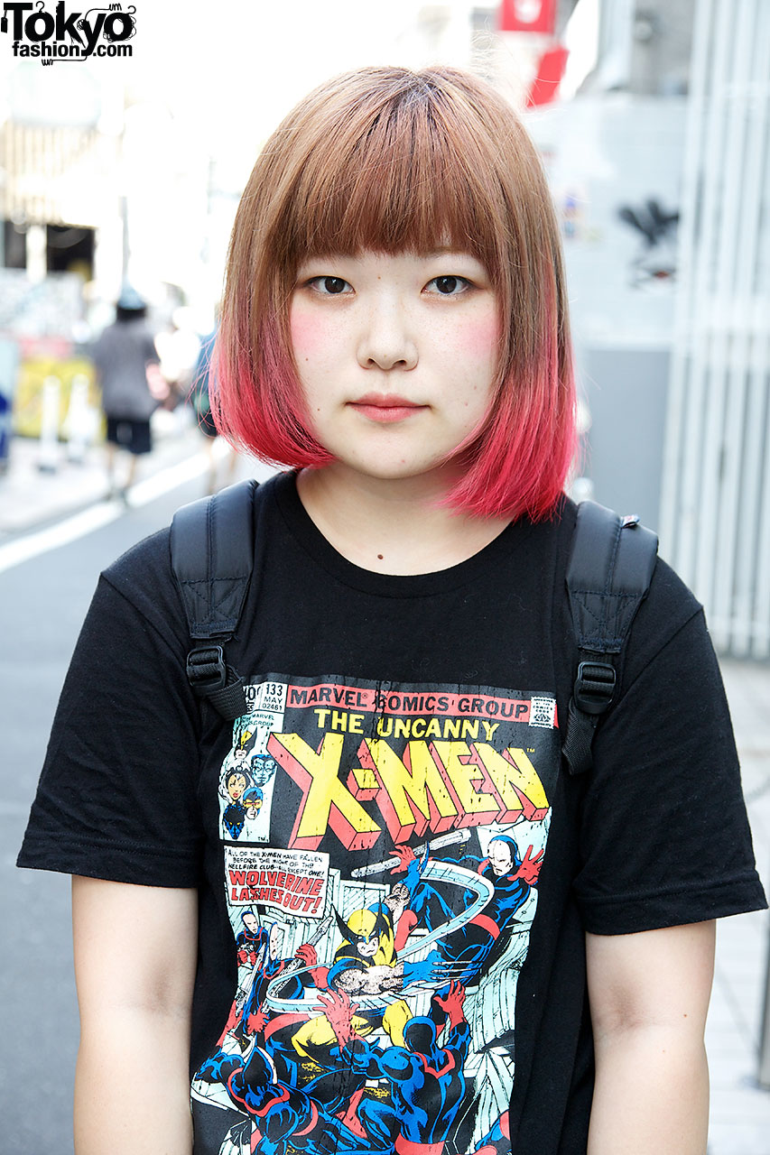 The Uncanny X Men X Pink Ombre Hair In Harajuku