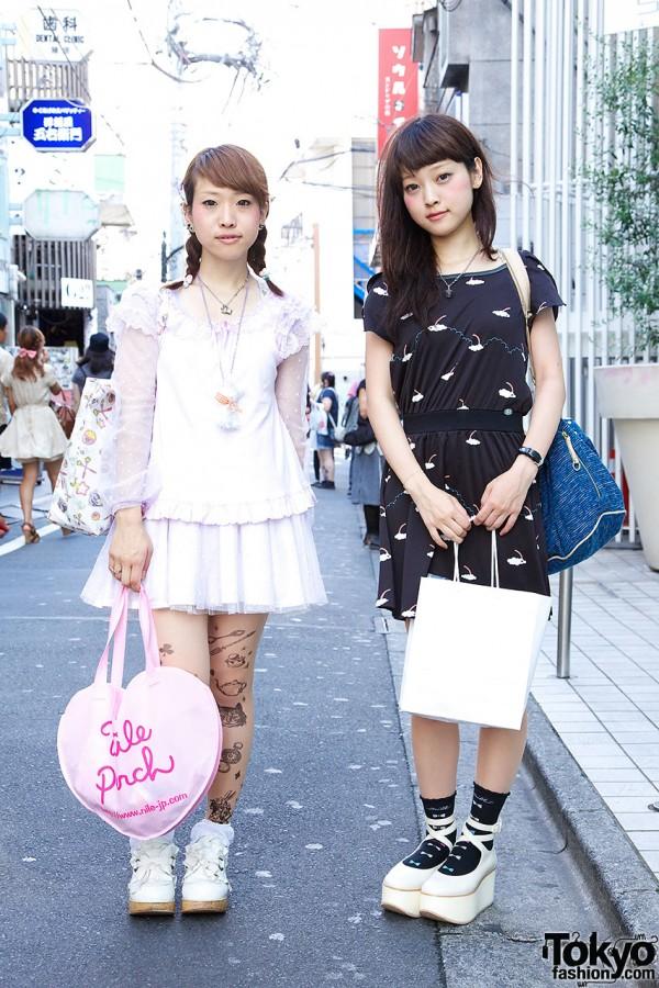 Harajuku Girls Wearing Cute Prints w/ Rocking Horse Shoes