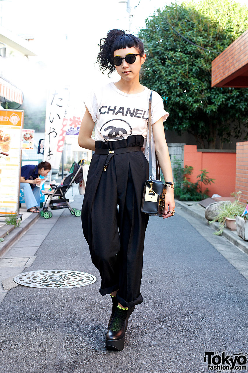 Chanel high waist pants belly button platform shoes in for Mobel asia style