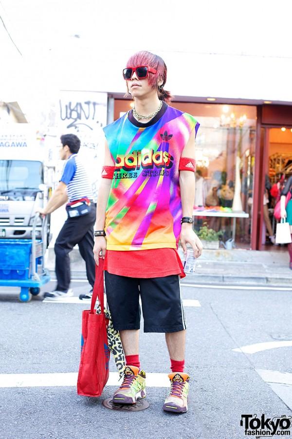 Harajuku Guy's Pink Hair & Adidas x Jeremy Scott Sneakers