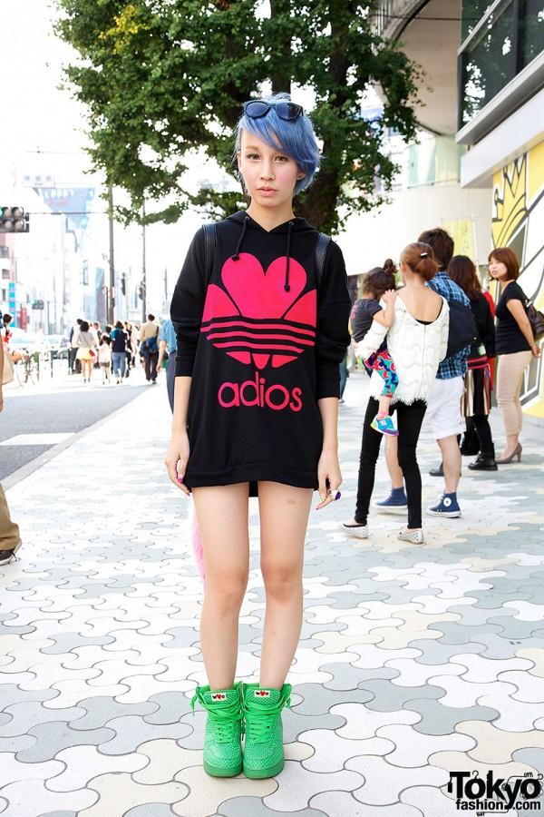 Harajuku Girl in ADIOS Hoodie