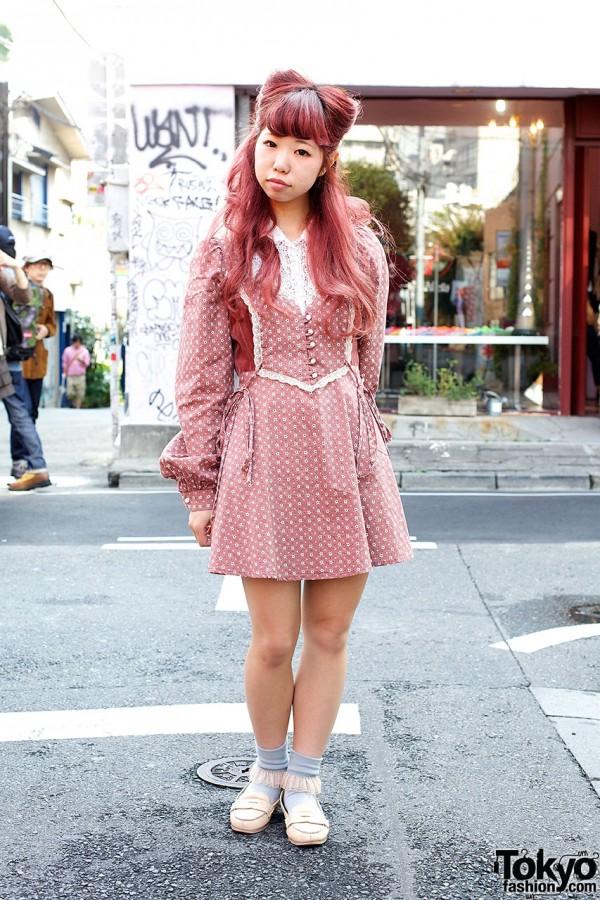 Pink Nekomimi Hairstyle, Gunne Sax Dress & Loafers in Harajuku