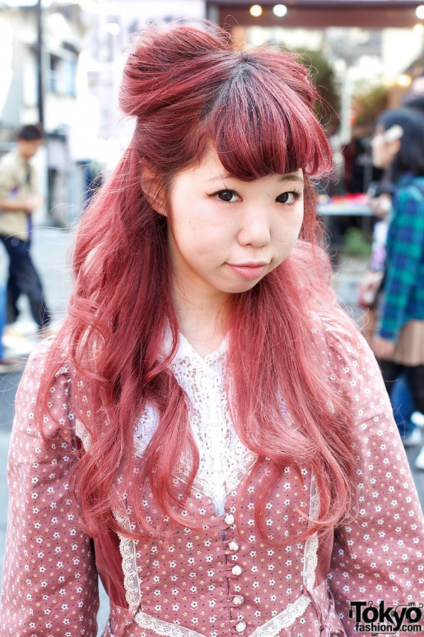 Pink Nekomimi Hairstyle Gunne Sax Dress Amp Loafers In Harajuku