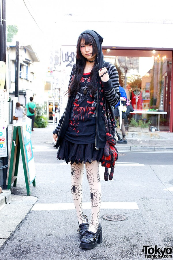 Gothic Harajuku Style w/ Hangry & Angry, h.NAOTO & Spider Web Tights