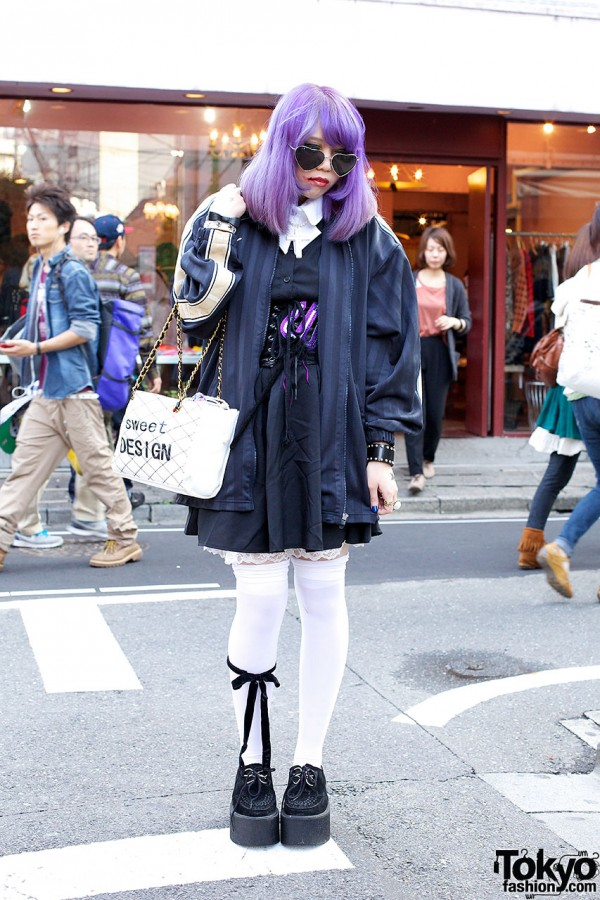 Creepers, Corset, Thigh-Highs, Purple Hair & Horror Makeup in Harajuku