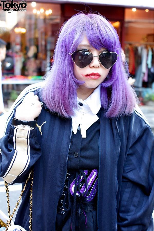 Purple Hair & Horror Makeup in Harajuku