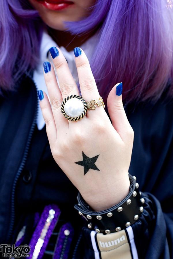 Studded Leather Bracelet & Large Ring