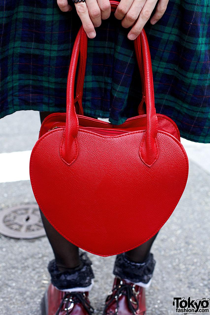 Blonde Bob Plaid Dress Round Glasses Amp Heart Handbag In